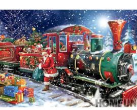 Diamond Painting - hobbypakket - kerstman kersttrein 20x30 cm