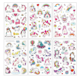 6 velletjes unicorn stickers