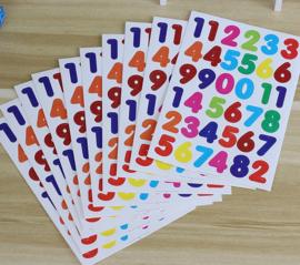 10 vellen stickers cijfers / nummers