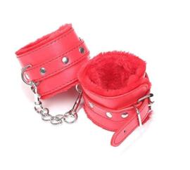 Handboeien rood imitatie leder en pluche
