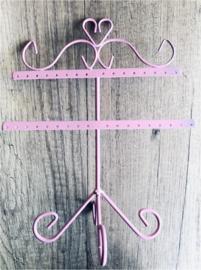 Metalen oorbellen display roze 26x22 cm