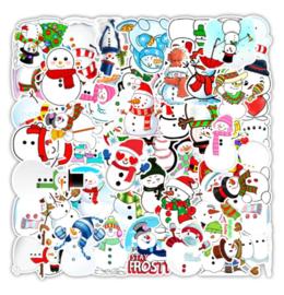 50 stuks stickers sneeuwpop 8x5 cm
