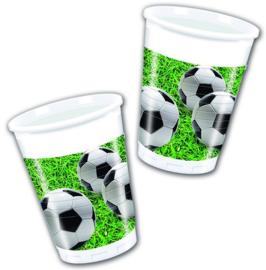 16 stuks plastic feestbekers voetbal 200 ml