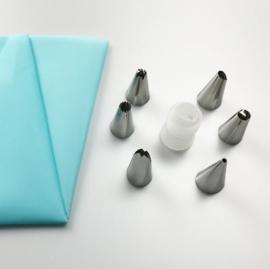 Silicone spuitzak blauw met 6 RVS decoratie tips