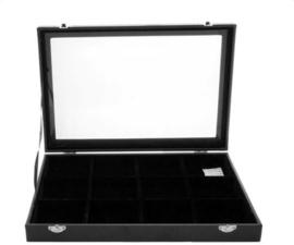 Display koffer / vakkendoos 12 vakken lederlook fluweel met deksel