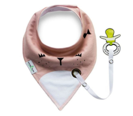 Baby sjaaltje met speenkoord zalm-wit