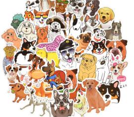50 stuks stickers honden 4 tot 8 cm