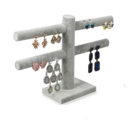 Oorbellen display grijs fluweel voor 20 paar oorbellen