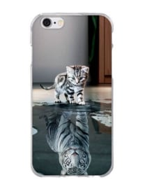 Siliconen hoesje / cover katje en tijger Iphone 8