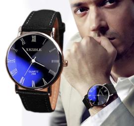 Business heren horloge zwart blauw
