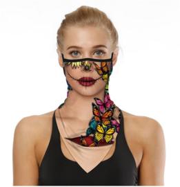 Sjaal - colsjaal - mondmasker - fietsmasker fashion vlinders