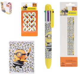 Minions set - schrift - kleuren balpen - potloden - gummen - stickers