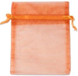 Organza zakjes oranje 9x7 cm Pak van 100 Stuks