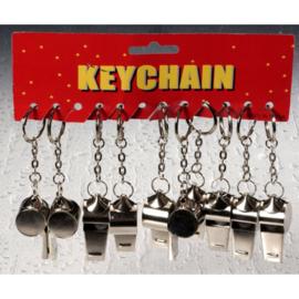12 stuks sleutelhanger met metalen fluit