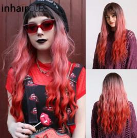 Synthetische pruik donkerbruin / rood lang haar