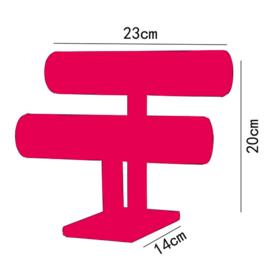 Armbanden display fluweel roze 2 rollen