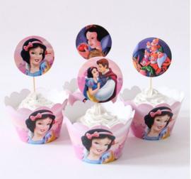 12 stuks cupcake omslagen Sneeuwwitje + 12 cupcake toppers
