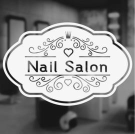 Muursticker Nail Salon wit 42x27 cm