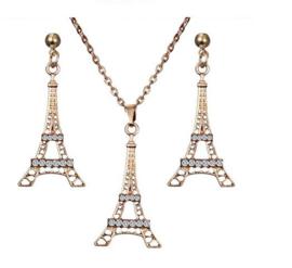 Sieradenset ketting + oorbellen goudkleurig Eiffeltoren