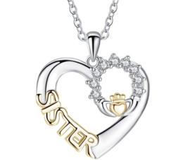 Ketting met hanger hart sister goud-zilverkleur
