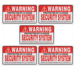 5 stuks Waring security stickers 9x5 cm