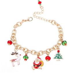 Kerst bedel armband met kerst hangetjes