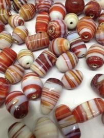 50 stuks glaskralen rood wit