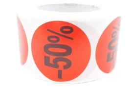 Korting stickers 50 % - 500 stuks