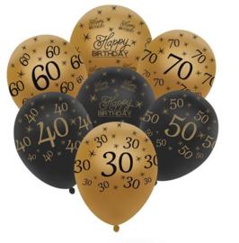 20 stuks ballonnen 50 jaar goud en zwart