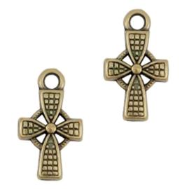 18 stuks metalen bedels/charm cross Antiek brons (nikkelvrij)