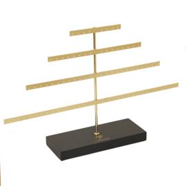 Oorbellen display goudkleur pyramide houten voet voor 80 oorbellen