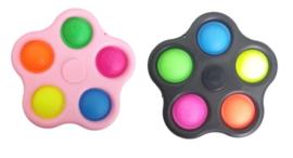 2 stuks pop it - fidget toy - roze en zwart 10x10 cm