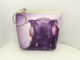 Portemonnee puppy met koptelefoon