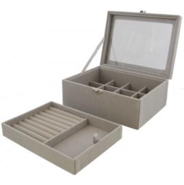 Luxe sieraden box met uitneembare bak 20x15x8,5cm