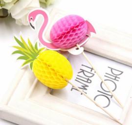 20 stuks cupcake toppers flamingo / ananas