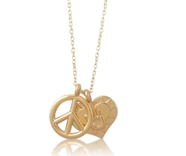 Anime ketting goudkleur 2 hangers - peace + hart