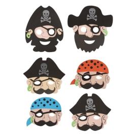 6 stuks stoere foam piraten maskers