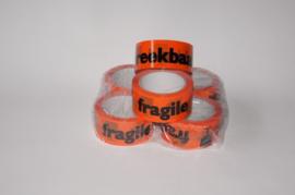 6 rollen Fragile plakband oranje - breekbaar plakband - 50 meter x 48mm