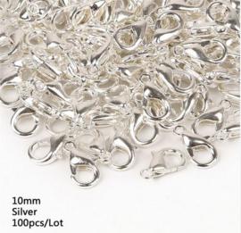 100 stuks karabijnsluitingen 10mm zilverkleur