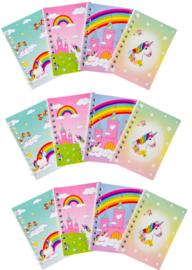 12 stuks notitieboekjes Unicorn - eenhoorn 11x7cm