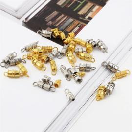 20 stuks schroefsluitingen goud - en zilverkleur