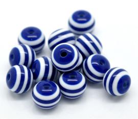 200 stuks kralen streep blauw wit 8mm