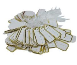 Prijslabeltjes 100 stuks wit/goud