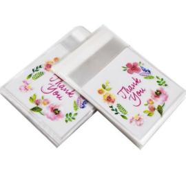 100 stuks kleine traktatie zakjes - snoepzakjes thank you 7x7 cm