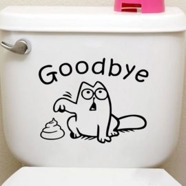Toilet sticker grappige kat