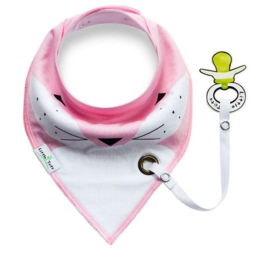 Baby sjaaltje met speelhouder roze / wit