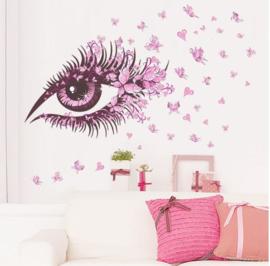 Muursticker beauty oog 135 x 65 cm
