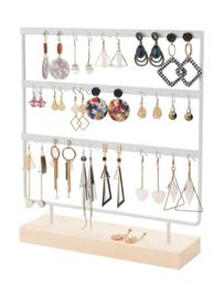Metalen oorbellen display wit met houten voet 30x20 cm