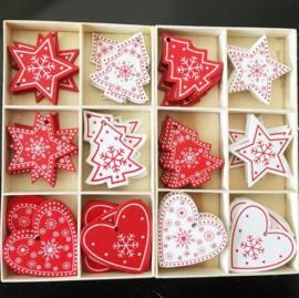 10 stuks houten kerstboom hangers rood wit 6x5 cm
