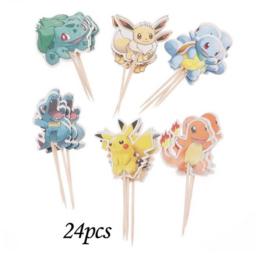 24 stuks cupcake toppers assorti Pokemon